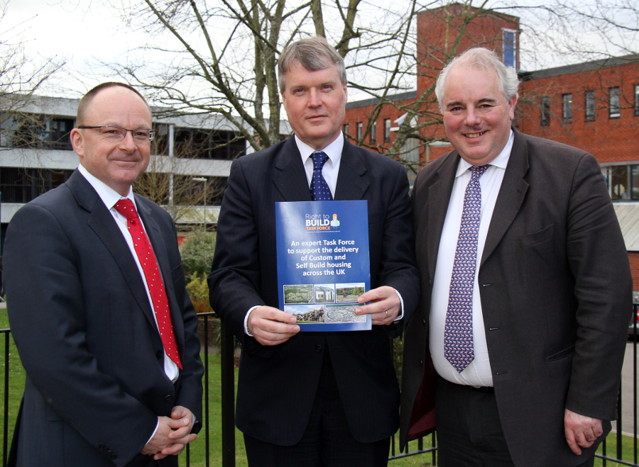 Mario Wolf, Right to Build Task Force Director, Cllr Seán Woodward, Fareham Borough Council and Richard Bacon MP, Ambassador of the Task Force.