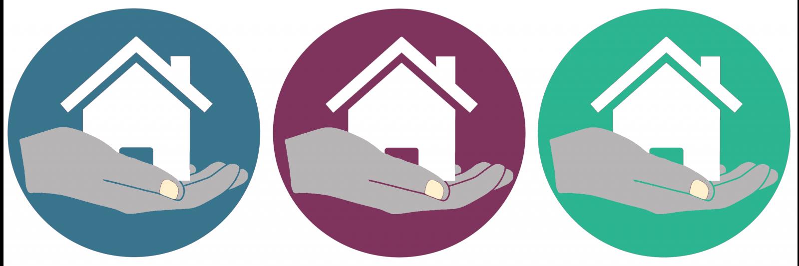 Hands holding house logo