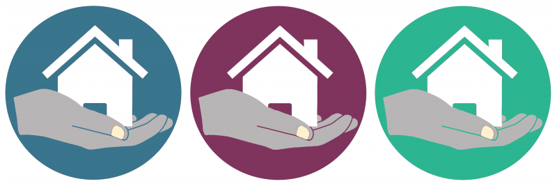 Hands holding house logo